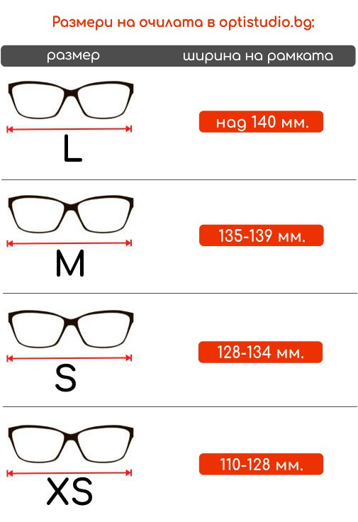Размери на очилата в opristudio.bg